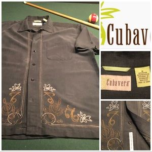 Cubavera Classic CAMP COLLAR EMBROIDERED Shirt